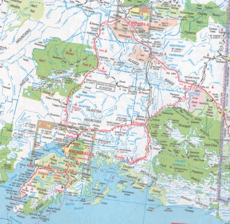 South Alaska Map.South Central Alaska